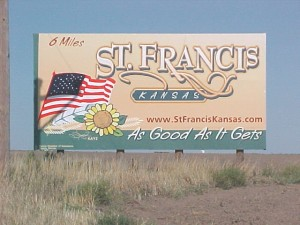 Your first welcome to St. Francis coming into town