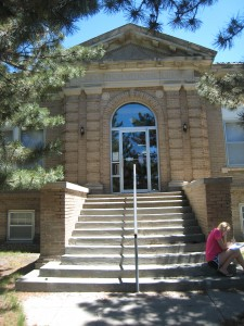 The entrance to the Finch Memorial Library, as I worked on the site plan.