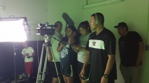 Filming our PSAs in a green room.
