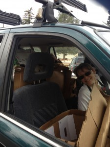 cardboard and me in car