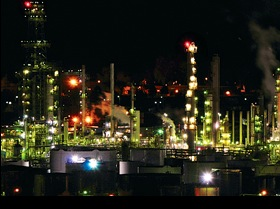 The Phillips Refinery at night, looks like another town.