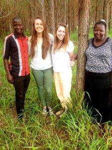 My host brother, class mate Meredith, host mother and I, in rural Uganda, near Gulu.