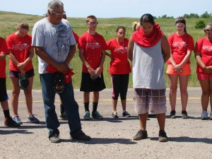Rodney Bad Hand and Ethan Bad Hand participated throughout the Leadership Camp and performed prayer 3 miles out Wanblee, SD before the final bike/walk/run