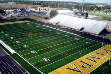 Pampa High School turf football field with track.