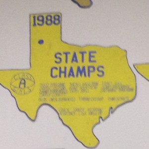 Pictured is a plaque of a past state championship. This is where I get a list of the members and coaches.