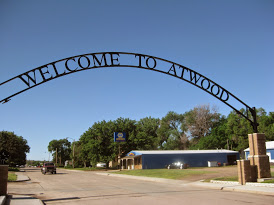The welcome sign in town