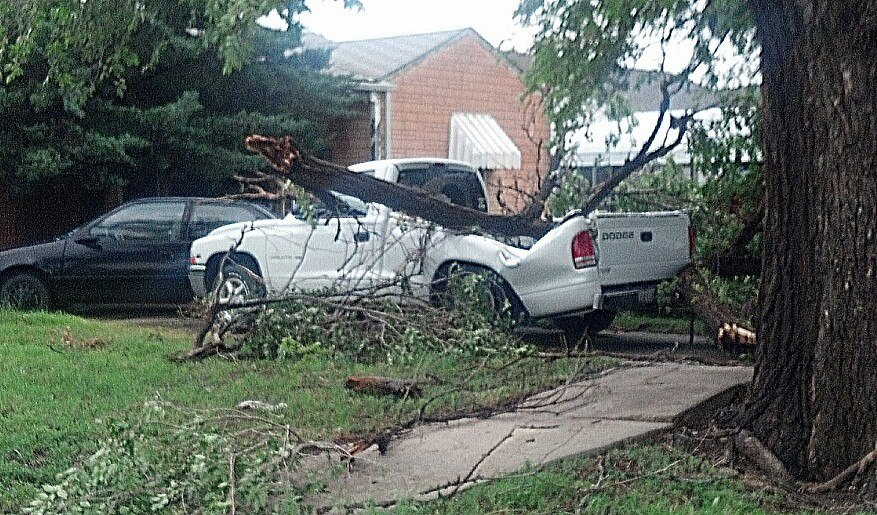 Damage from the wind storm in Pampa, Tx.