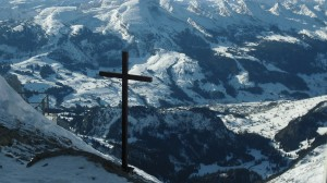 Favorite view in Switzerland. Looking down into the valley from the top of a mountain in early winter.