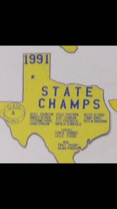 A photo I took of a state basketball title when researching the school's history.