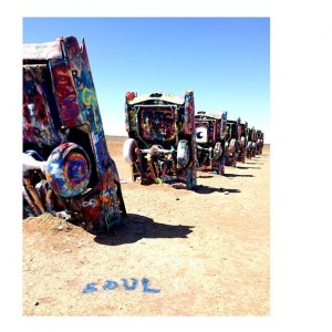 Side profile view of Cadillac Ranch.