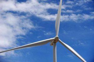 A wind turbine in Clovis.