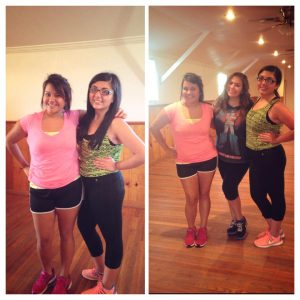 This was not a current picture but these are my two friends with whom I did the zumba class with :) During the time of the zumba class I did not have my phone with me but thought this was still a great way to share my event with :)