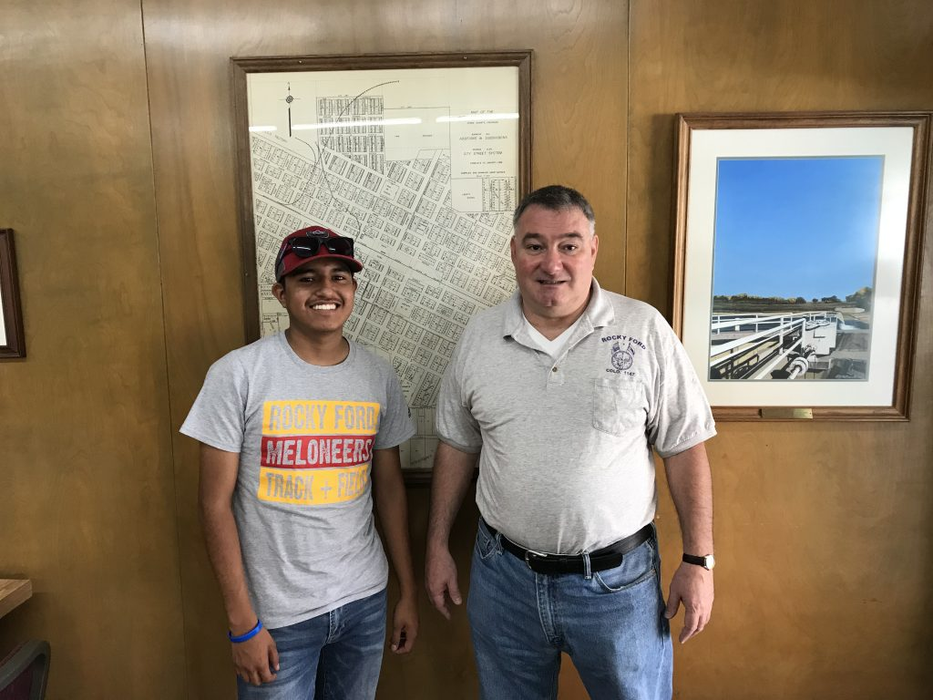 This is George Hanzas and I at the Catlin Canal Company office. George is in charge of the office work of the company. I have been assisting him at the office.